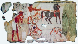 Facsimile of Nebamun's horses and assess in the British Museum
